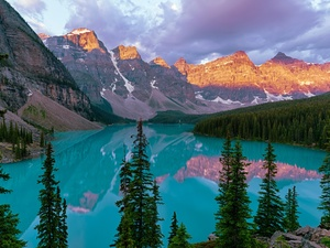 Lake Moraine, Banff National Park, reflection, Mountains, viewes, Province of Alberta, Canada, trees