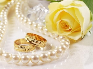 Necklace, Pearl, Yellow Honda, rose, rings