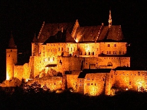 night, Luxembourg, Castle
