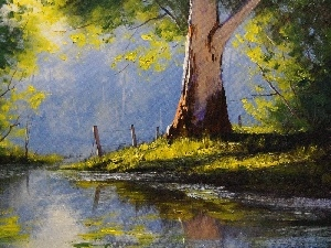 viewes, water, painting, paint, green, trees