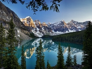 National Park Banf, Canada, Mountains, forest, lake