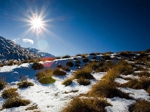 Przebijaj?ce, ligh, New Zeland, sun, luminosity, Mountains, winter, flash