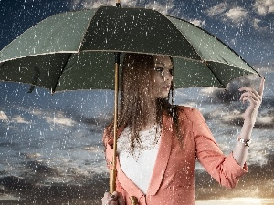 Beauty, umbrella, Rain, Women