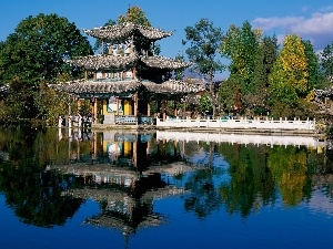 reflection, pagoda, lake