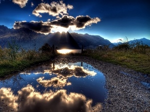 reflection, clouds, Mountains