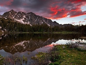 River, Meadow, clouds, Mountains, Red