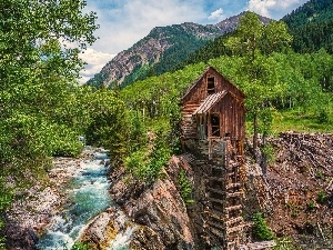 River, Mountains, Colorado, Windmill, Crystal Mill
