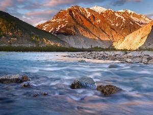 River, Stones, Mountains