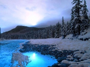 River, winter, Mountains