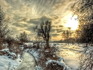 trees, west, River, winter, viewes, sun