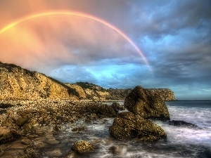 Great Rainbows, sea, rocks