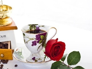 mill, coffee, rose, cup