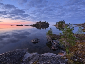 Islets, Lake Ladoga, rocks, trees, Karelia, Russia, clouds, Great Sunsets, viewes