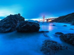 sea, rocks, golden, Gate, bridge