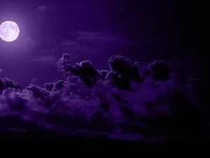 Night, clouds, Sky, moon