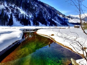 Mountains, River, snow, Coloured