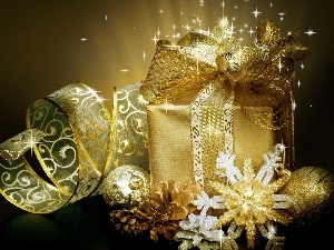 bauble, ribbon, Stars, Present