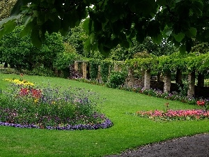 stone, Buldings, lane, Flower-beds, Park