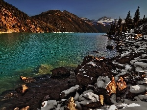 River, Snowy, Stones, Mountains