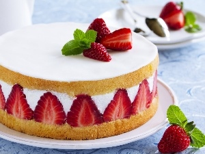 Strawberry, cake, Creamy
