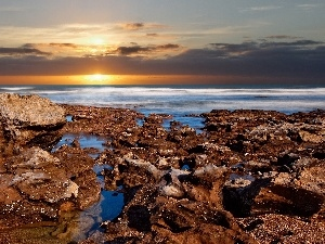 sea, west, sun, rocks