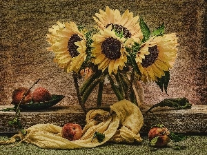 sunflowers, Flowers, composition