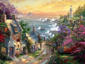 Houses, Lighthouses, Thomas Kinkade, Coast