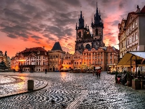 Town, Prague, Towers, Great Sunsets, Houses, Czech Republic