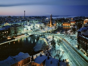 Snowy, Finland, Town, winter, Streets, Tampere