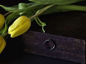 Yellow, wooden, trunk, Tulips