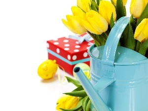 Easter, Yellow, Tulips, eggs