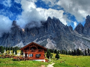 Restaurant, Mountains, viewes, Austria, trees, clouds