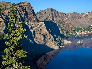 lake, trees, viewes, crater