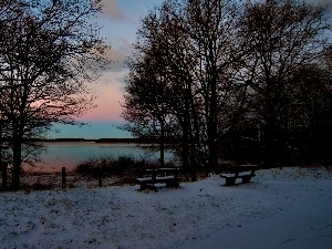 lake, trees, viewes, snow