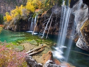 trees, waterfall, color, rocks, autumn, viewes, Leaf