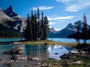 viewes, Mountains, Islet, trees, lake