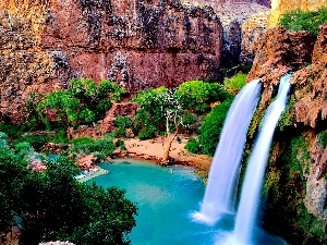 trees, Havasu Falls, Arizona, The United States, viewes, rocks