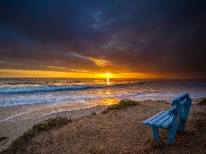 west, sun, Beaches, Bench, sea