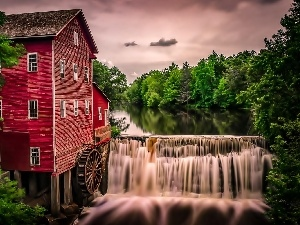 ##, River, Windmill, water, forest, waterfall