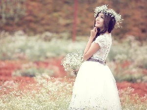 lady, young, Goose, wreath, Flowers, brunette, girl, Meadow